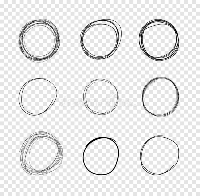VectorDrawn Circles, Scribble Lines Drawings on Transparent Background. stock illustration