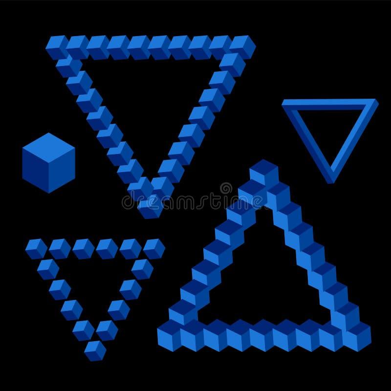 Vectordriehoeks isometrische vorm van blauwe kleur stock illustratie