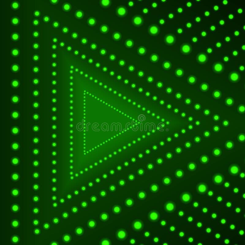 Vectordriehoeksachtergrond, Gloeiende Cirkels, Groene Lichten op Donkere Achtergrond, Neonpijl vector illustratie