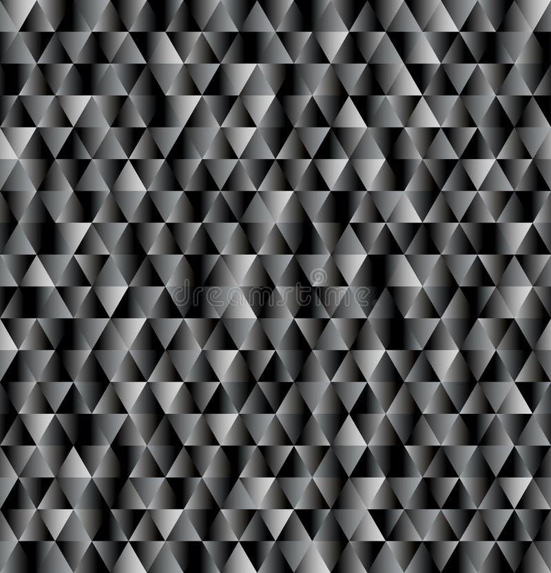 Vectordriehoeksachtergrond, naadloos patroon in zwarte en grijze kleuren stock illustratie