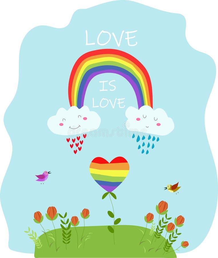 Vectordruk, illustratie met regenboogharten De liefde is liefde Kawaiiontwerp vector illustratie