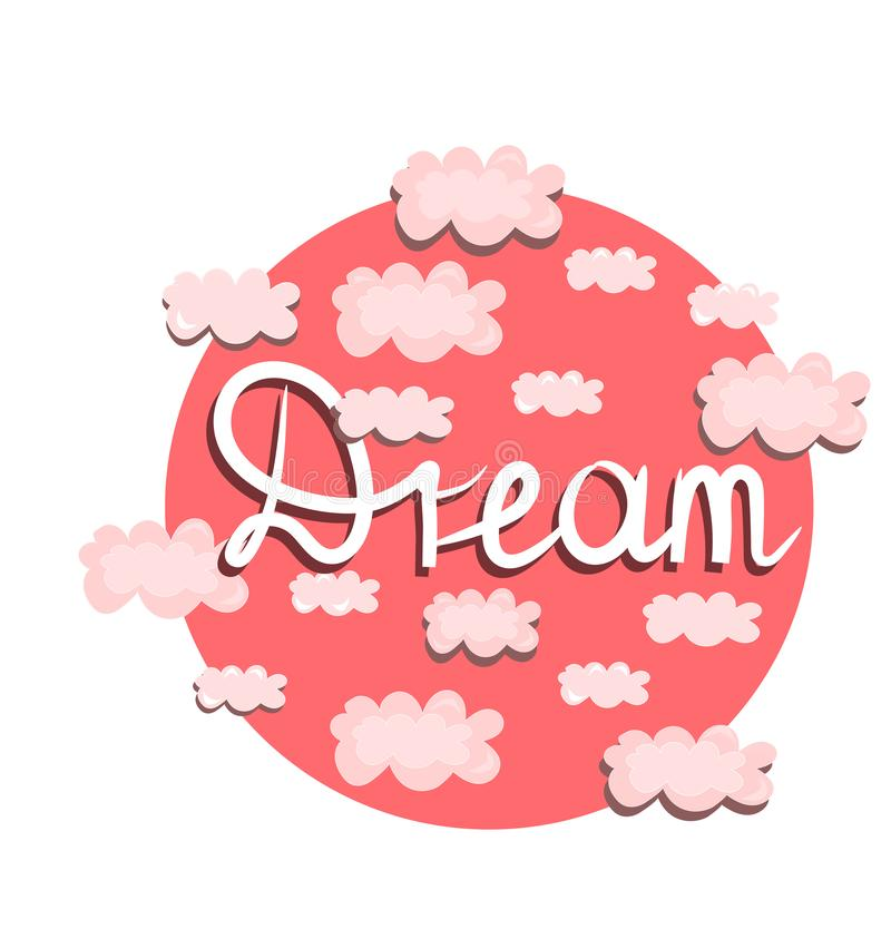 Vectordruk, illustratie met roze wolken Met de hand gemaakte document boot in een fles royalty-vrije illustratie