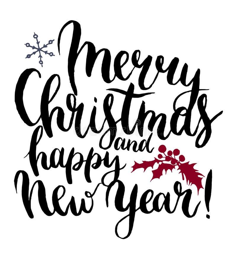 Vectordruk witn Vrolijke Kerstmis en het gelukkige Nieuwjaar van letters voorzien stock illustratie