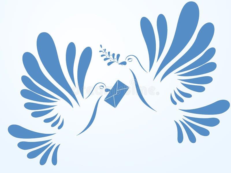 Vectorduiven Illustratie van twee duiven het vliegen Gestileerde vogels stock illustratie