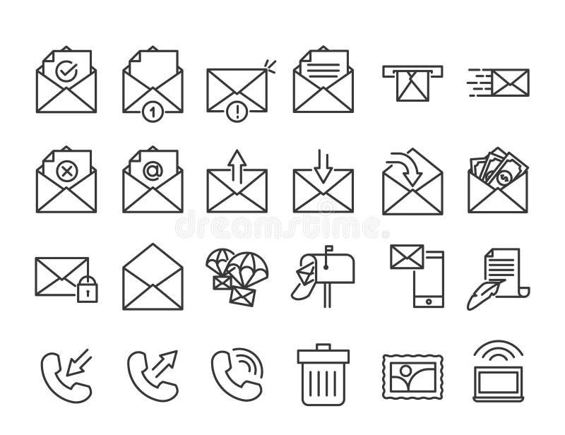 Vectore-mail, telefoon en mededeling de dunne reeks van het lijnpictogram stock illustratie