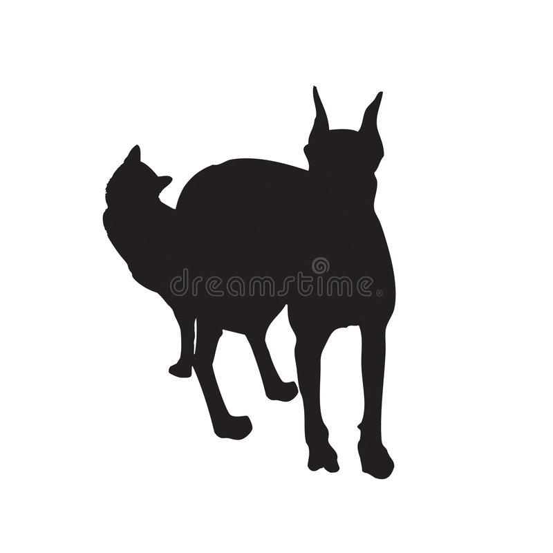 Vectored Cat And Dog Together Royalty Free Stock Photo