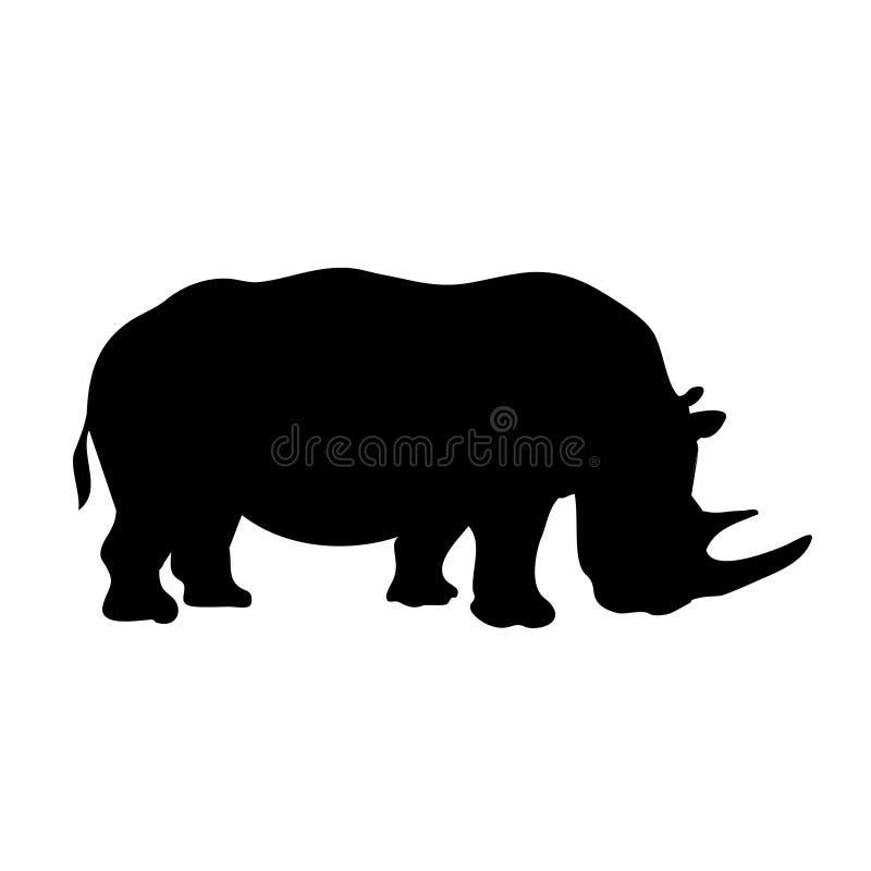 vectored noshörningsilhouette royaltyfri illustrationer