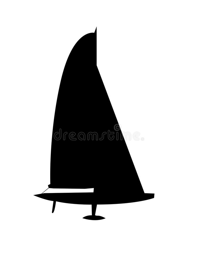 Free Vectored Silhouette Of Sailboat Royalty Free Stock Images - 8412019
