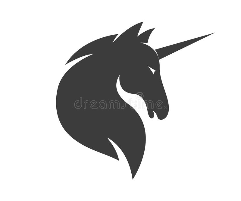 Vectoreenhoorn of paardembleemmalplaatje stock foto's