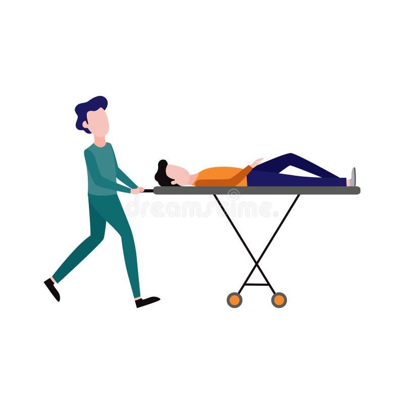 Vectoreerste hulp, noodsituatieverpleegster en patiënt royalty-vrije illustratie