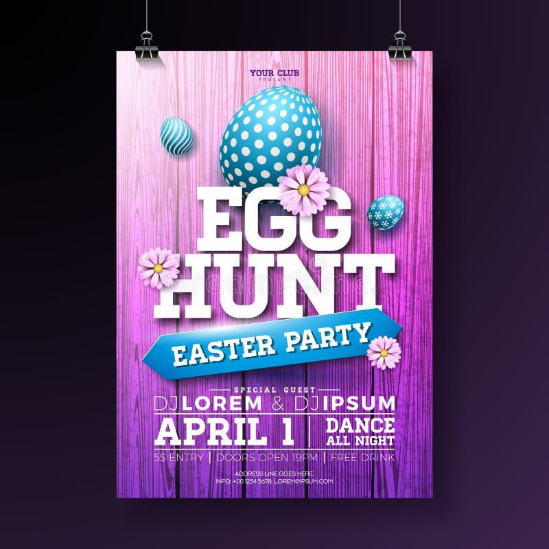 Vectorei Hunt Easter Party Flyer Illustration met geschilderde eieren, bloemen en typografieelementen op uitstekend hout vector illustratie