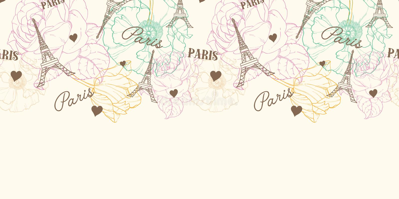 Vectoreifel-Naadloze het Patroon Horizontale Grens van Torenparijs in Uitstekende Stijl met Mooie, Romantische Pastelkleurbloemen royalty-vrije illustratie