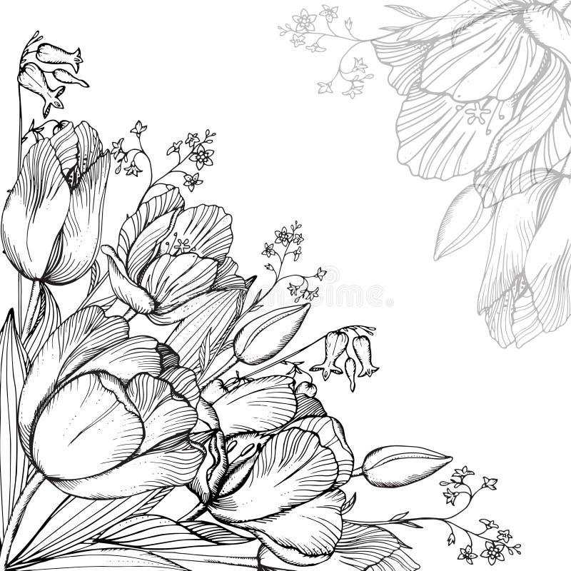 Vectorelegantie bloemenachtergrond met grafische de lentebloemen stock illustratie