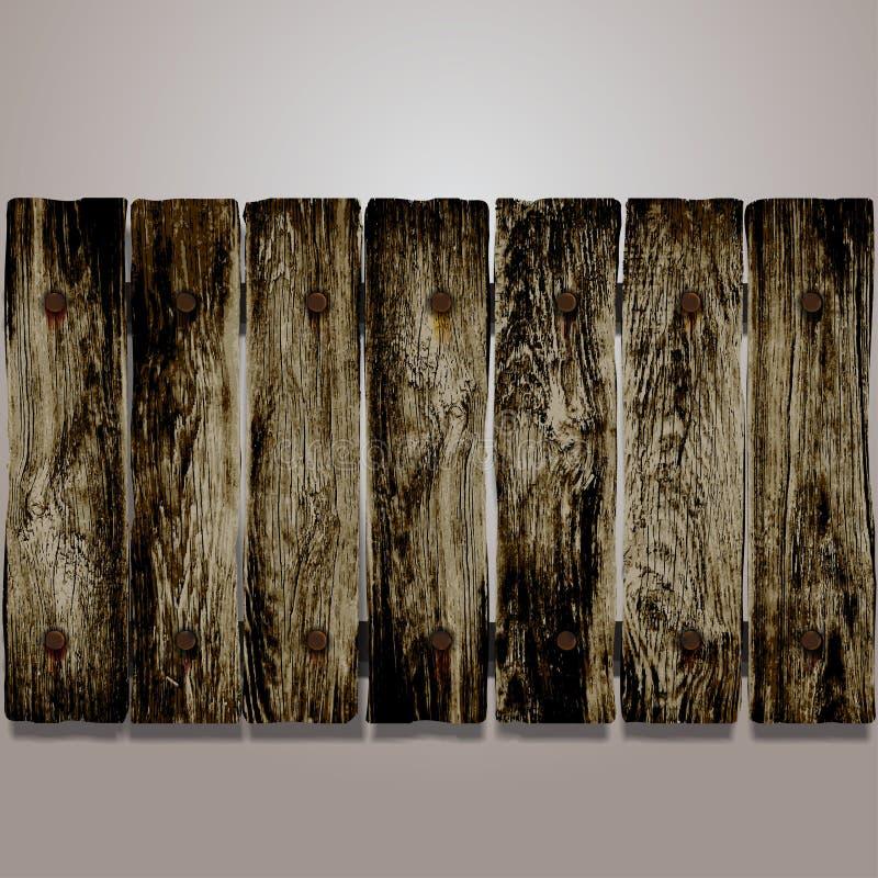 Vectorelementen houten omheining met oude spijkers Vector illustratie vector illustratie