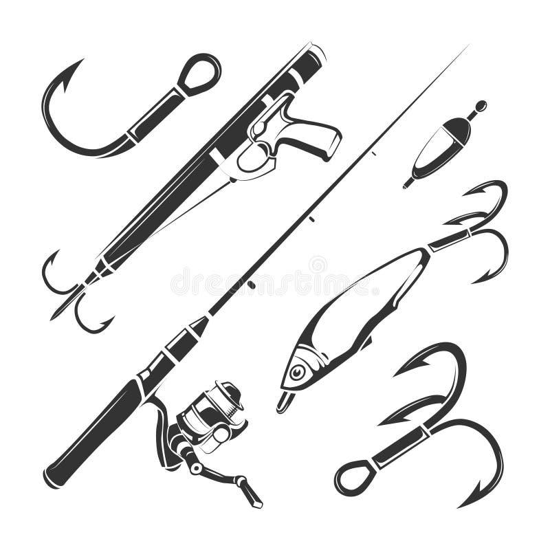 Vectorelementen voor de uitstekende etiketten van de visserijclub, emblemen, geplaatste emblemen royalty-vrije illustratie