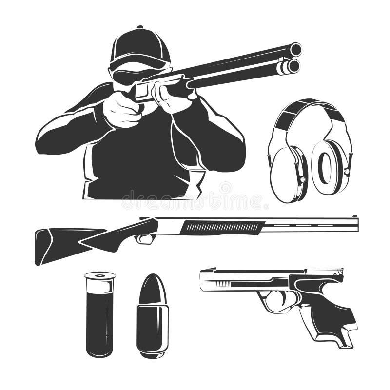Vectorelementen voor het schieten van club retro etiketten, emblemen, emblemen en kentekens stock illustratie