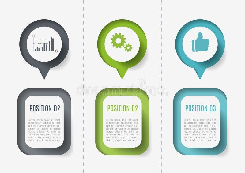 Vectorelementen voor infographic Malplaatje voor diagram, grafiek, presentatie en grafiek Bedrijfsconcept met 3 opties vector illustratie