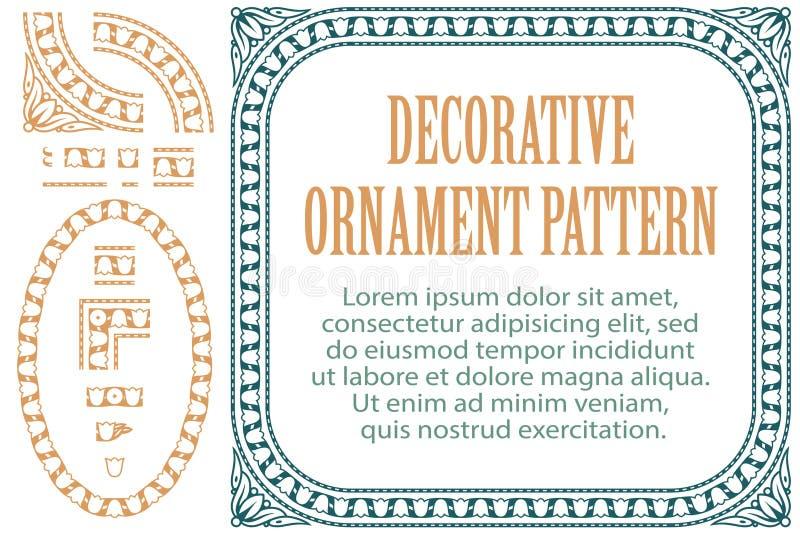 Vectorelementenbloemen voor ontwerp, die tot grenzen, kaders en achtergronden leiden Drie inbegrepen borstels royalty-vrije illustratie