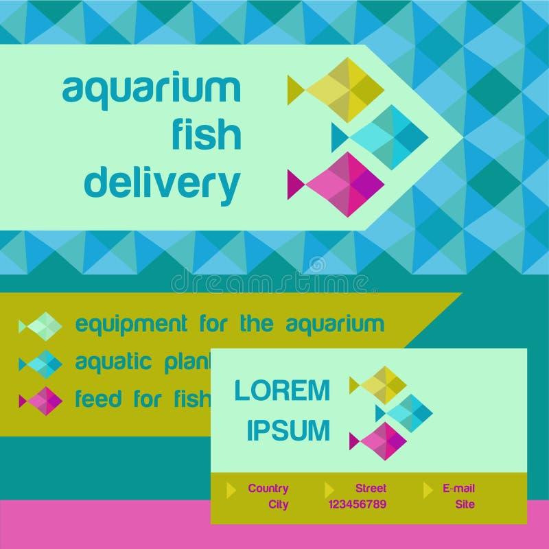 Vectorembleem en identificatie De vissen van het winkelaquarium royalty-vrije illustratie