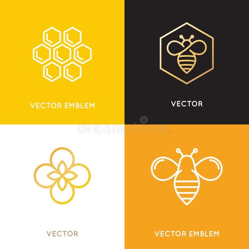 Vectorembleem en verpakkende ontwerpmalplaatjes in in lineaire styl vector illustratie