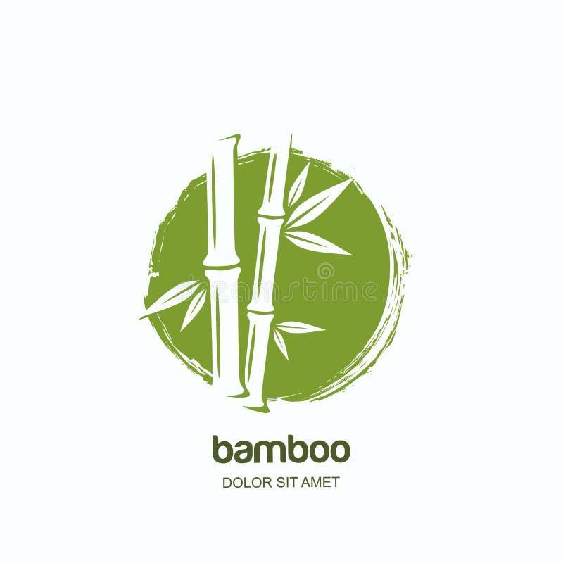 Vectorembleem, etiket of embleem met installatie van het waterverf de hand getrokken groene bamboe Concept voor kuuroord en schoo vector illustratie
