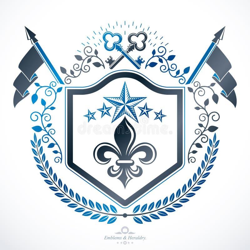 Vectorembleem, heraldische wijnoogst stock illustratie