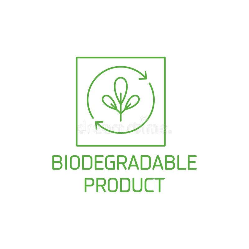 Vectorembleem, kenteken en pictogram voor natuurlijk en biologische producten Het biologisch afbreekbare ontwerp van het productt stock illustratie