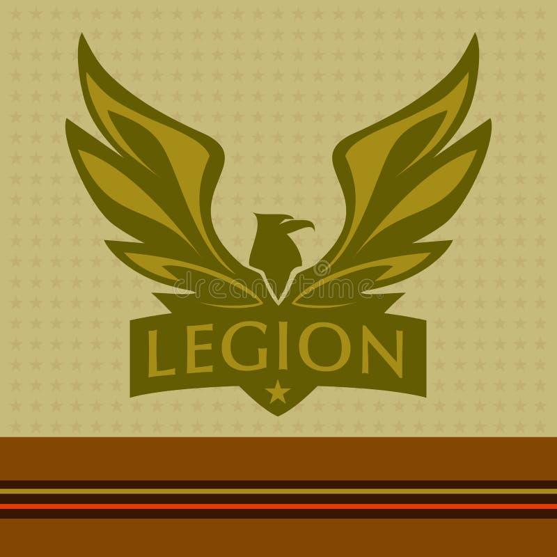 Vectorembleem met een beeld van een adelaar legioen stock illustratie