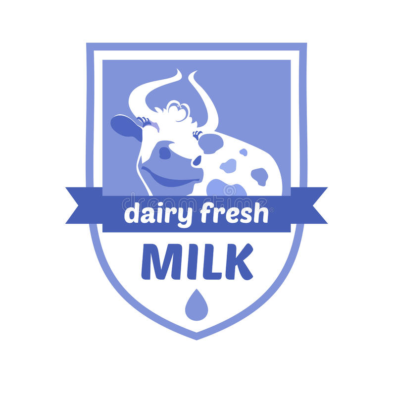 Vectorembleem met het beeld van een koe Melk en melk vector illustratie