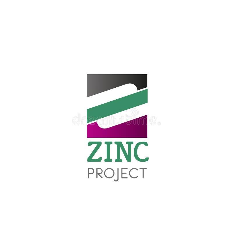 Vectorembleem met symbool zink royalty-vrije illustratie