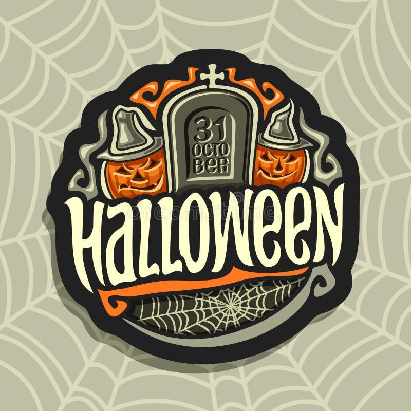 Vectorembleem op Halloween-vakantiethema vector illustratie