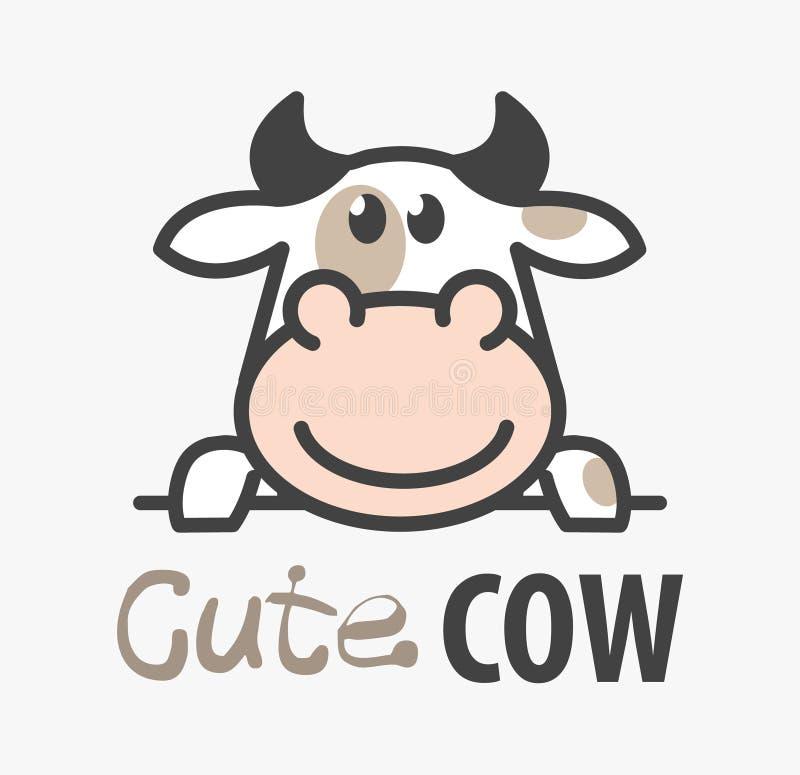 Vectorembleem van grappige het glimlachen ?ute beeldverhaalkoe Modern humoristisch embleemmalplaatje met beeld van de stier Slach vector illustratie