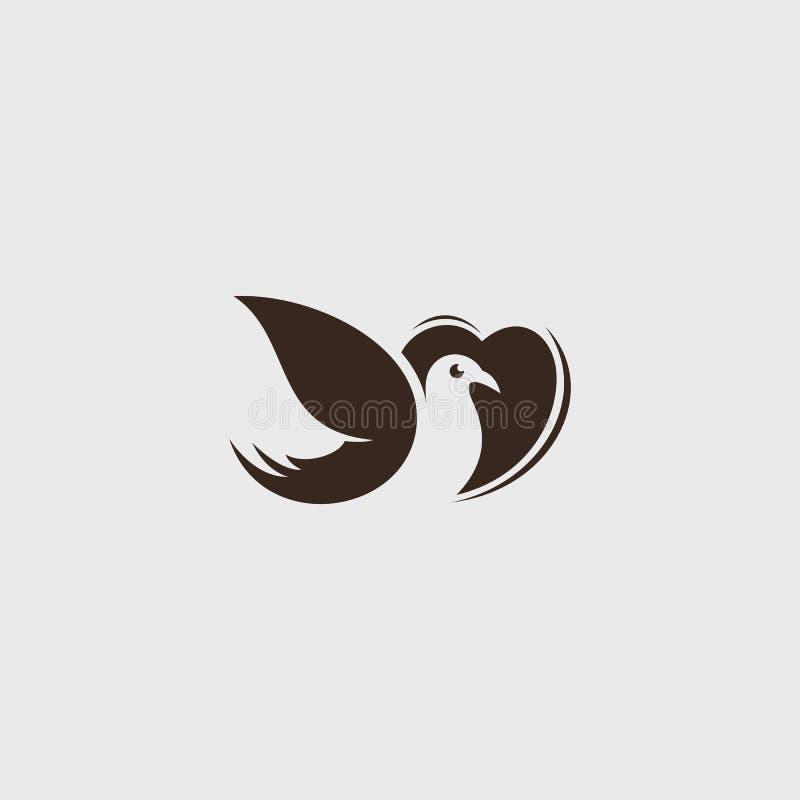 Vectorembleem van Liefde, het beeld van de de lijnkunst van het vogelspictogram stock afbeelding