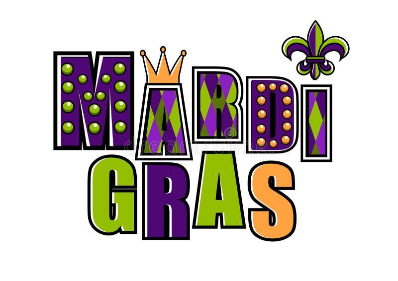 Vectorembleem van Mardi Gras met fleur DE lis symbool Mardi Gras-partijontwerp Mardi Gras Carnaval Vette Dinsdag royalty-vrije illustratie