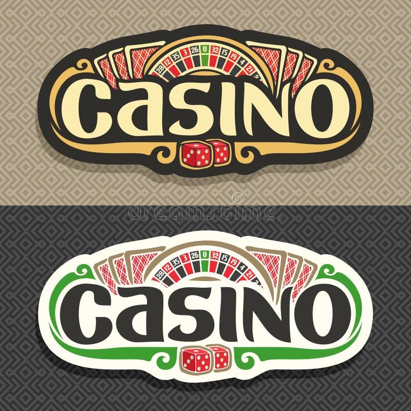 Vectorembleem voor Casinoclub op geometrische achtergrond royalty-vrije illustratie