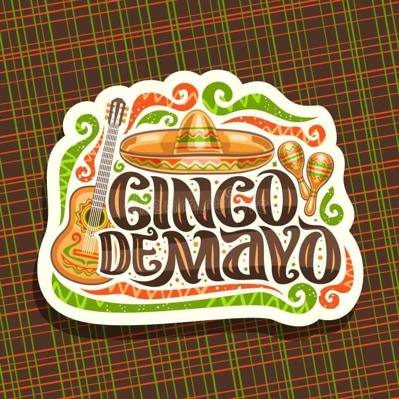 Vectorembleem voor Cinco de Mayo-vakantie royalty-vrije illustratie