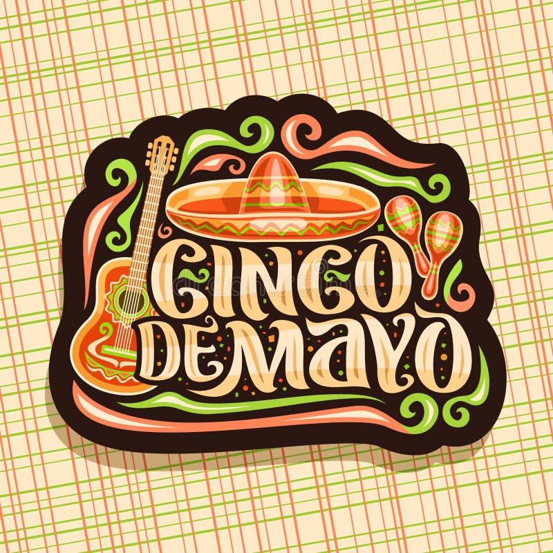 Vectorembleem voor Cinco de Mayo-vakantie stock illustratie