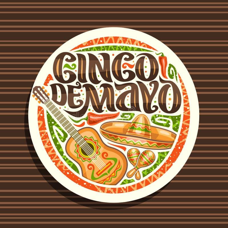 Vectorembleem voor Cinco de Mayo-vakantie vector illustratie