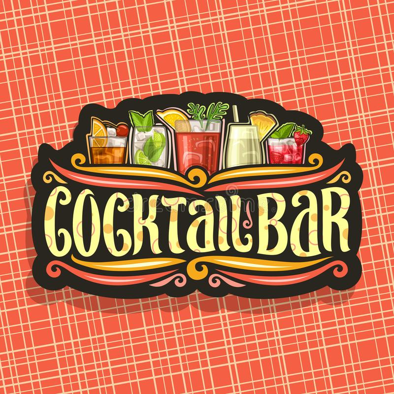 Vectorembleem voor Cocktailbar stock illustratie