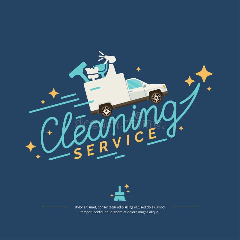 Vectorembleem voor de schoonmakende dienst met auto royalty-vrije illustratie