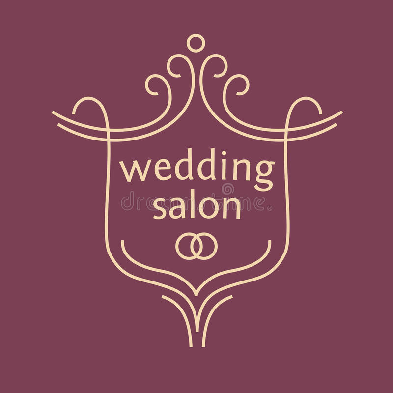 Vectorembleem voor een bruids salon, huwelijksboeketten royalty-vrije illustratie