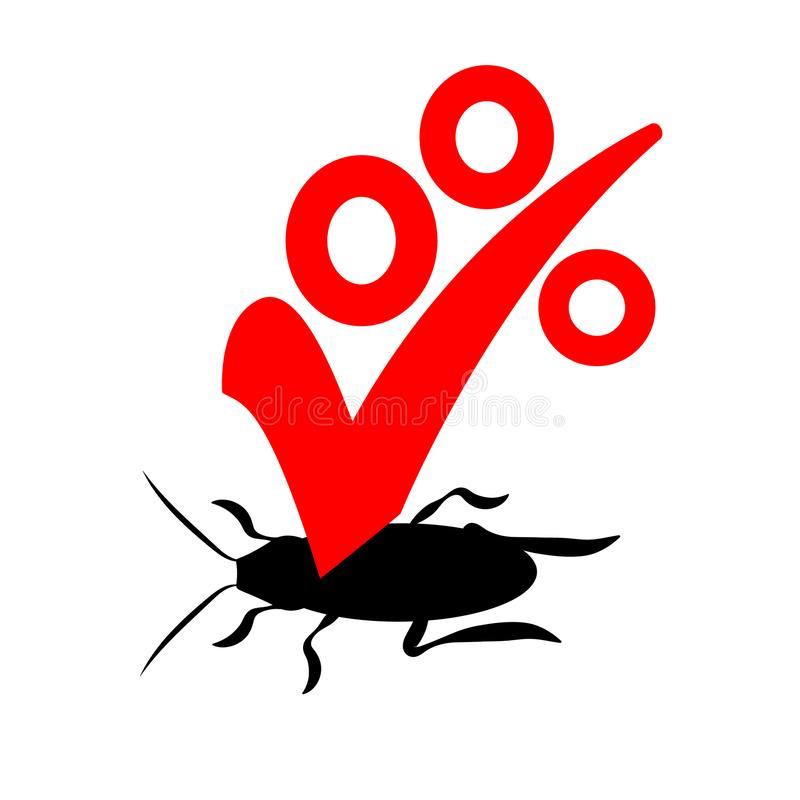 Vectorembleem voor het bedrijf voor de vernietiging van insecten met een garantie Uitroeier of ongediertebestrijdings, rode en zw royalty-vrije illustratie