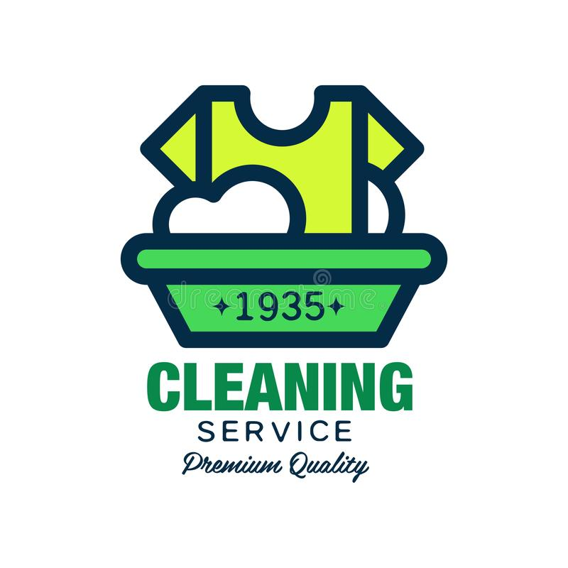 Vectorembleem voor het schoonmaken van bedrijf T-shirt en plastic bassin met schuim De wasserijdienst Eenvoudig pictogram in line vector illustratie