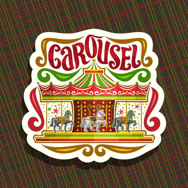 Vectorembleem voor kinderen` s Carrousel royalty-vrije illustratie