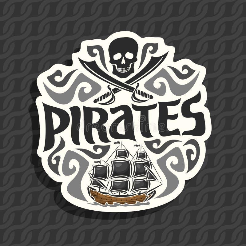 Vectorembleem voor Piraatthema stock illustratie