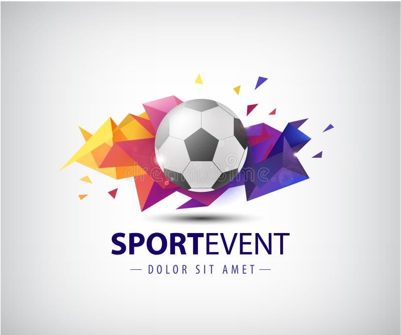 Vectorembleem voor voetbalteams en toernooien, kampioenschappenvoetbal Geïsoleerde Gefacetteerde voetbalbal op kleurrijk vector illustratie