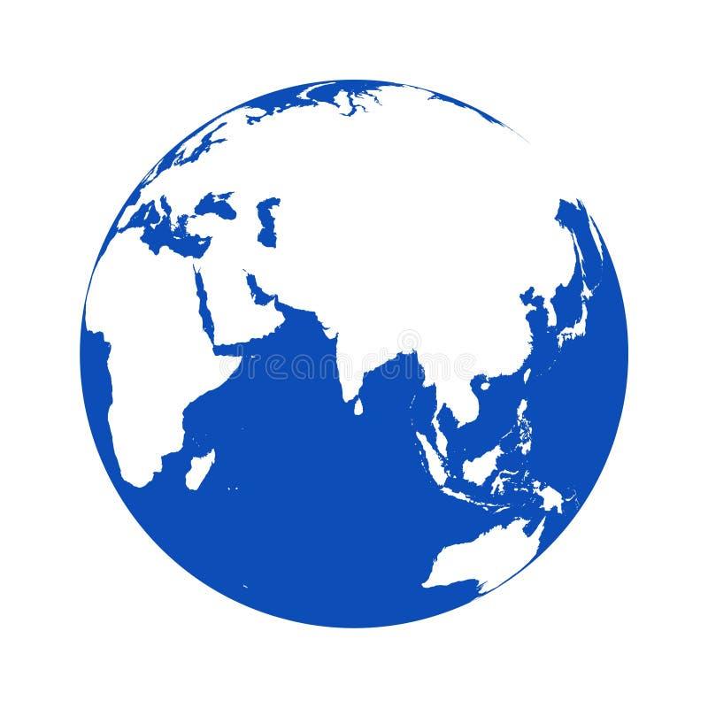 Vectorembleembol, Aardepictogram, Aardeembleem op wit royalty-vrije illustratie