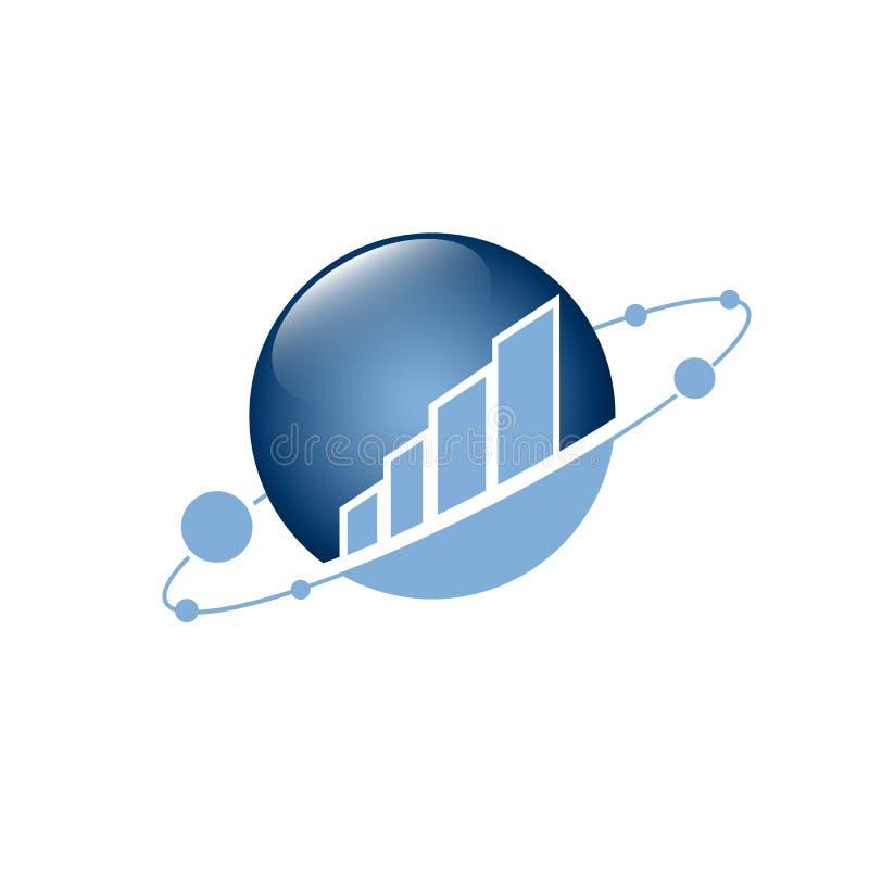 Vectorembleemconcept voor boekhouding of onroerende goederenbedrijf Embleemontwerp met commerciële de bouw en grafiekbars Bedrijf royalty-vrije illustratie