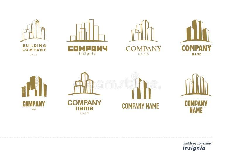 Vectorembleeminzameling voor stedelijk bouwbedrijf royalty-vrije illustratie