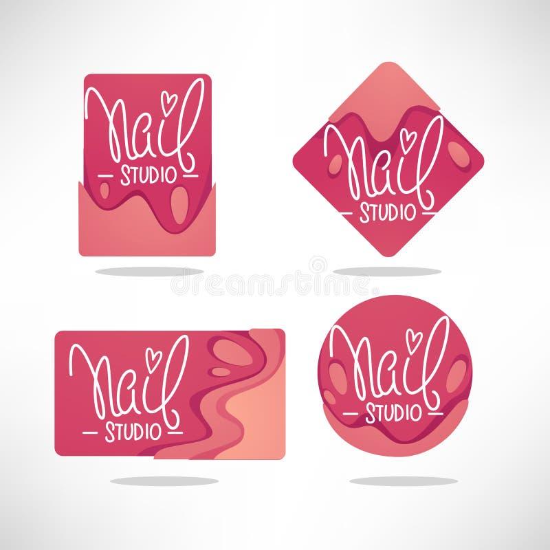 Vectorembleemmalplaatje voor uw van de Spijkerstudio en manicure salonverstand vector illustratie